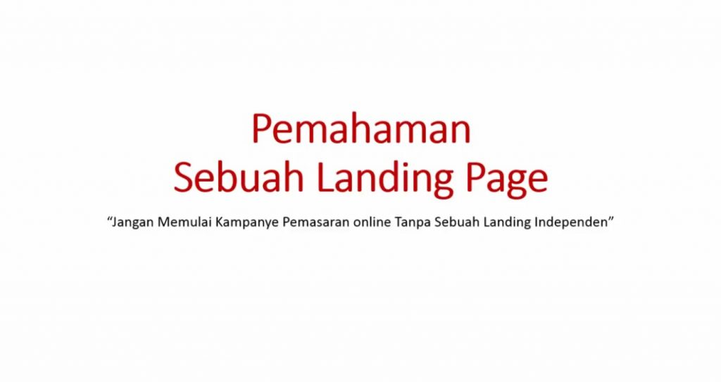 Video 1 - Pemahaman Landing Page